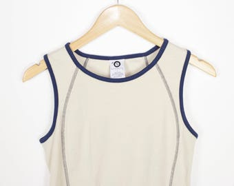 90s contrast stitch  athletic tank top - vintage - navy blue + beige - womens