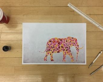 Geometric Elephant Poster
