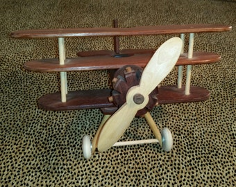 wooden airplane triple decker solid stock wood mahogany