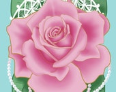 Valentine's Day Card, Valentine, Holiday Card, Greeting Card, Feminine Card, Roses, Lace, Pearls