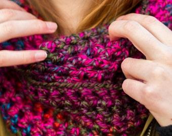 Magenta Crocheted Infinity Scarf