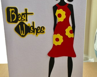 Womens Siloette lady birthday greeting card created by Designs by Xpression