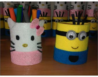 2 Minions and Hello Kitty pen holders