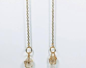 Raw Quartz Drop Earrings