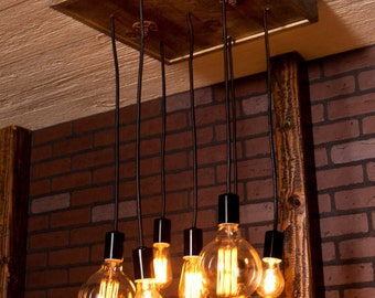 Industrial Lighting, Industrial Chandelier With Reclaimed Wood and 7 Pendants
