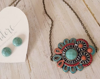 Turquoise Necklace - Turquoise and red - Turquoise Necklace - Antique Bronze - Red - Boho jewelry - Statement - Boho - Gift for her
