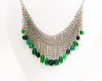 Green Glass Bead Chainmail and Fringe Bib Necklace, Green Beads Bib Necklace, Jewel Tone Necklace