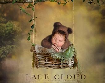 Digital backdrop background props newborn baby boy or girl vintage rustic retro forest basket  swing / pic 167