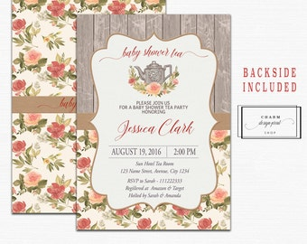 Baby shower tea party invitation, tea party baby shower invitation, tea party invitation printable, A Baby is Brewing Invitation, rustic