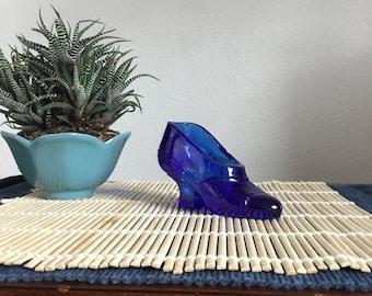 Vintage Glass Cobalt Blue Shoe, Unique Glass Collectable, Cobalt Blue Vintage Home Decor