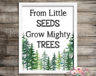 From Little Seeds Grow Mighty Trees Tribal Woodland Printable Print Sign Instant Download Watercolor Boy Nursery Inspirational Decor Art