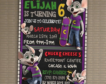 Chuck E. Cheese Invitation, You Print Invitation, Chuck E. Cheese Birthday, Chuck E. Cheese Invite, Chuck E. Cheese Themed Invitation