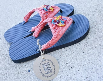 Crochet Flip Flops, Summer Sandals - Size US: Medium 7-8