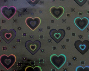 Black Gloss Heart Patterned Vinyl Fabric