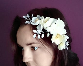 Wedding hair piece, headband, flower crown, halo, wreath, diamonte and ivory hair accessories.