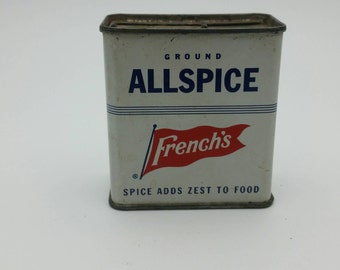 Vintage French's All Spice Tin Container - Décor Prop - collectible - AllSpice Hermits Recipe - 70s