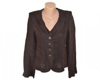 Vintage women blazer jacket brown 100% linen