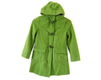 Vintage girls wool coat green duffle