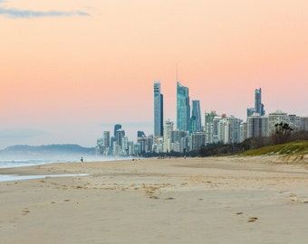 Gold Coast Beach and City Skyline at Sunrise, Australia - Photography Print