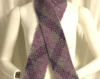 Planned pooling scarf, argyle scarf, purple scarf, purple, pink and grey scarf, plaid scarf, handmade scarf, crochet scarf