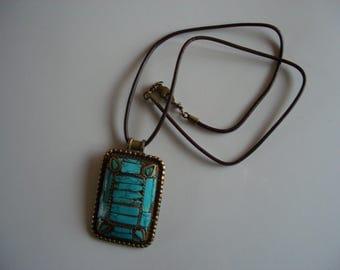 Turquoise pendant - handcrafted - semi-precious stones