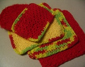 Collection of 3 Crochet Dishcloths Wash Pad and Scrubbie Kitchen Set