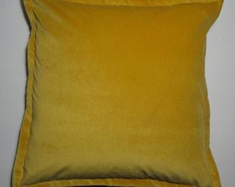 "Single Ochre Plush Velvet Throw Pillow Cover 22""x 22"" (one)Luxurious Thick Velvet Throw Pillow with 1"" Flange"