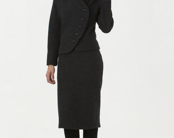 Womens Suit Jacket Black Boiled Wool
