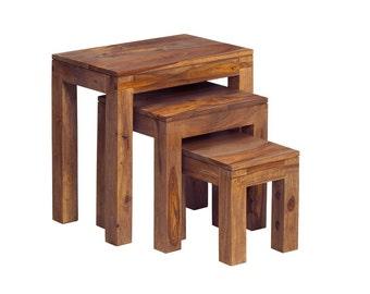 Stone sheesham wooden nest of 3 tables set - Natural wood grain