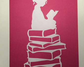 Girl reading a book papercut (Pink)