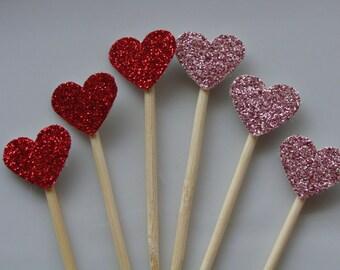 Red and Mauve Glitter Heart Cupcake Topper- 12ct-Red glitter hearts, Mauve Glitter hearts, Heart Cupcake decor, Birthday Glitter Topper