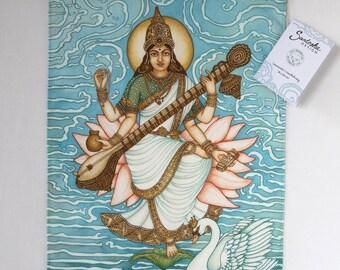 Saraswati Print, Indian Godess, Hindu Goddess, Hindu Deity, spiritual art, yoga print, Saraswati poster, Saraswati wall hanging 36 x 50 cm