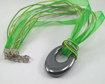 Haematite necklace, Haematite pendant necklace, Haematite necklace with ribbon, Haematite and leather necklace, leather necklace, necklace,