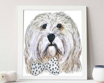 Custom Pet illustration Print + Digital Download, Dog, Cat, Pet portrait, custom illustration, custom pet portrait, Giclee art print