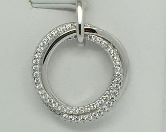 925 Sterling Silver 3 Open Circle CZ Pendant