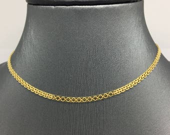 925 Gold Plated Sterling Silver Flat Chain