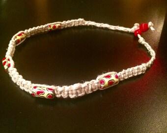 Hemp macramé red and yellow porcelain beads necklace