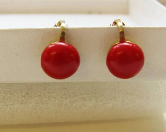 Red clip on earrings