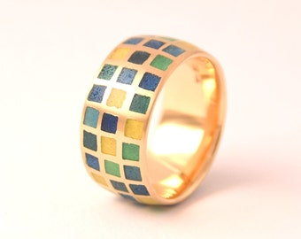 Email ring Diamond 18kt yellow gold band ring, enamelling
