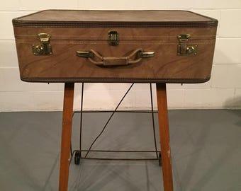 Vintage Utilitarian cart end table repurposed Suitcase  storage fleetwood 3000 unique coffee shelf trunk antique