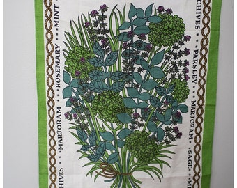 Herb Tapestry | Herb Kitchen Decor | Vintage Herb Decor | Large Herb Print | Kitchen Decor| Parsley | Sage | Rosemary | Mint | Chives