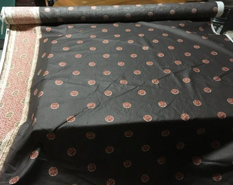 Vintage 1979 Brown Chinese coin fabric from Interior Fabric Design