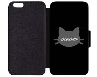 Kitty Kitten Cat Animal Meow Face Print Pattern Leather Wallet Flip Phone Case Cover Apple iPhone 5 5S 6 6S 7 Plus