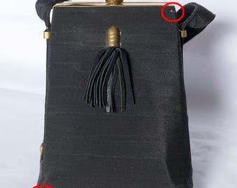Vintage 1940's Structured Black Fabric Handbag Great Shape