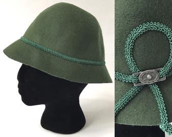 Green Alpine Hat Felt Tyrolean Original Isar Trachten Olive Green Hat Austrian Wool Trachten Hat Tirolean Mountain Bavarian Oktoberfest Hat