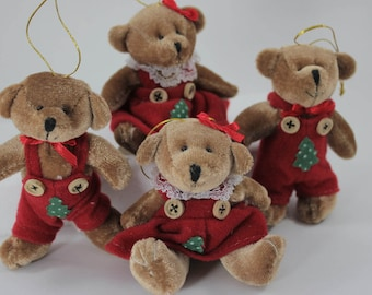 SALE - 4 Vintage Plush Christmas Ornament from the 1990's