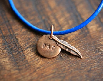 Hand made DAD memorial copper pendant on a blue greek leather bracelet