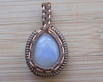Wire Wrapped Pendant On Sale - Heady Wire Wrap - Wire Wrap - Moonstone Pendant - Wire Wrap Pendant - Gemstone Wire Wrap - Unique Jewelry
