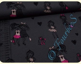 Fashion girls Paris anthracite / pink 0, 5m Jersey