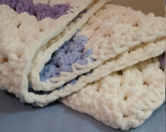 Crochet Baby Blanket-Purple and Blue